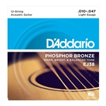 10-47 12 String Light Phosphor Bronze Acoustic Guitar Strings Set