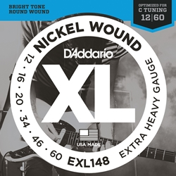 D'addario 12-60 Extra Heavy For Drop C Tuning Nickel Wound Electric Guitar Strings Set